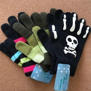 3 pair of hand knit  gloves